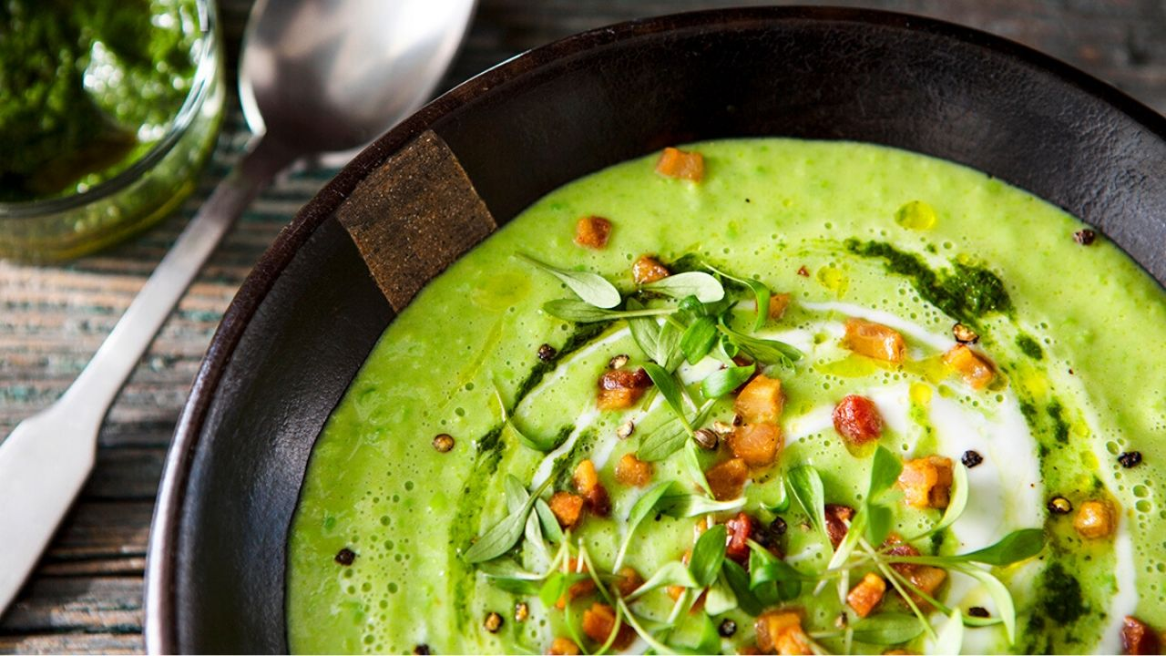 Avocado Bean Soup with Herb Relish